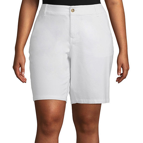 "a.n.a-Plus Womens Mid Rise 11"" Bermuda Short"