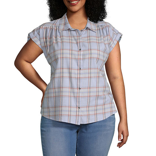 a.n.a-Plus Womens Short Sleeve Button-Down Camp Shirt