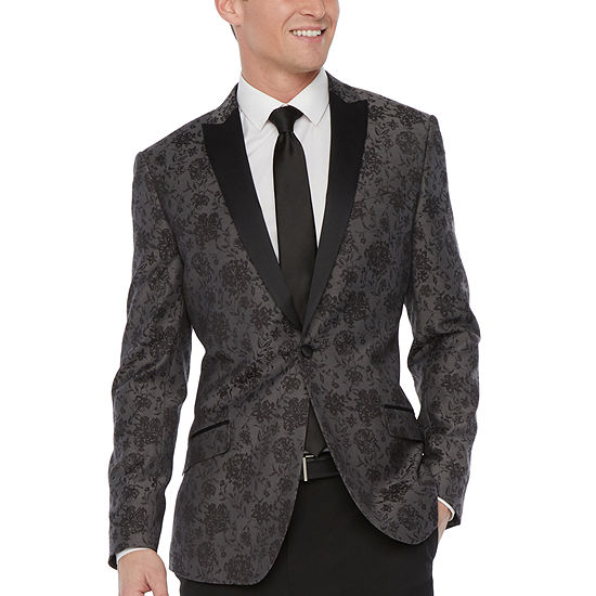 JF J.Ferrar Mens Floral Slim Fit Tuxedo Jacket