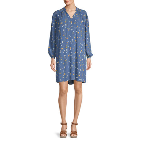 a.n.a Long Sleeve Shift Dress, Medium , Blue