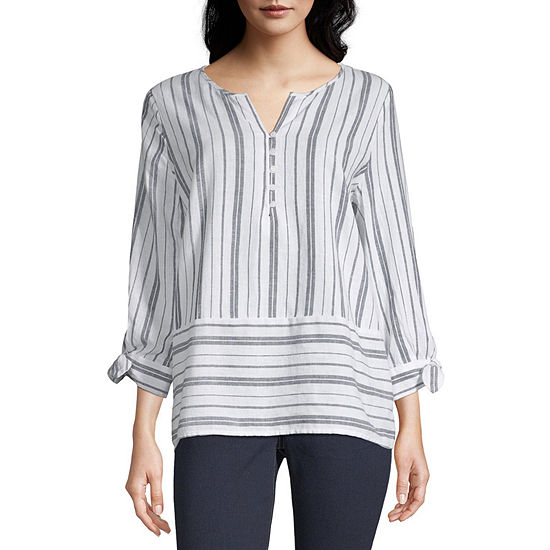 Liz Claiborne Womens Y Neck 3/4 Sleeve Henley Shirt