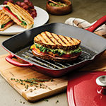 "Tramontina® Gourmet 11"" Enameled Cast Iron Grill Pan + Press"