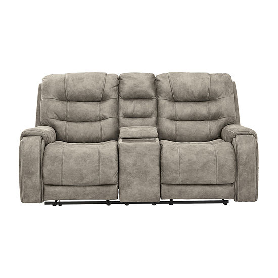 Signature Design by Ashley Yacolt Living Room Collection Pad-Arm Power Recline Upholstered Loveseat