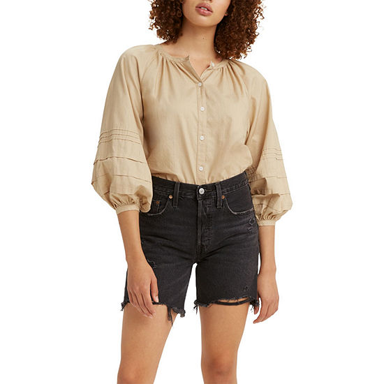 Levi's Genevieve Womens 3/4 Sleeve Regular Fit Button-Down Shirt