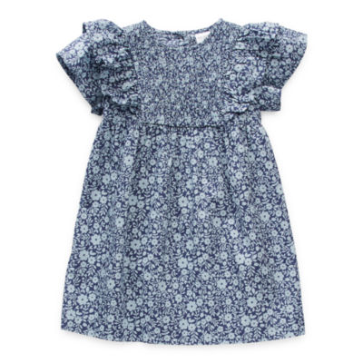 Okie Dokie Toddler Girls Short Sleeve Flutter Sleeve Shift Dress