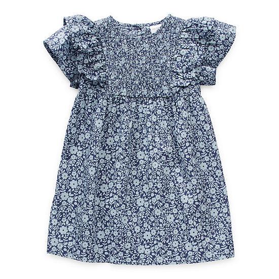 Okie Dokie Toddler Girls Short Sleeve Flutter Sleeve Shift Dress