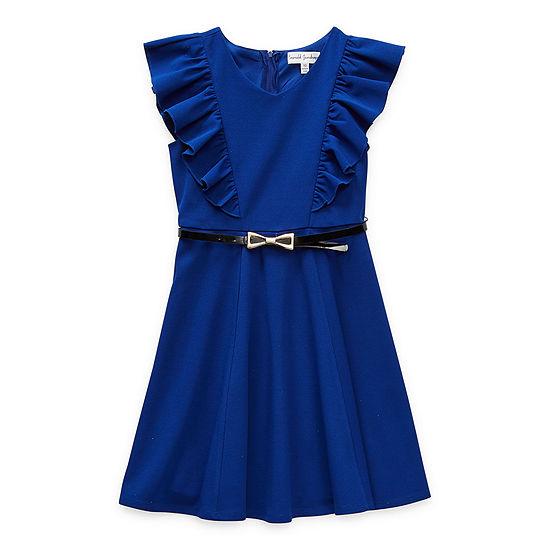 Emerald Sundae Big Girls Short Sleeve Flutter Sleeve Fit & Flare Dress