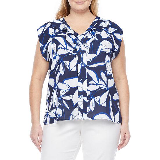 Liz Claiborne Plus Womens V Neck Short Sleeve Blouse
