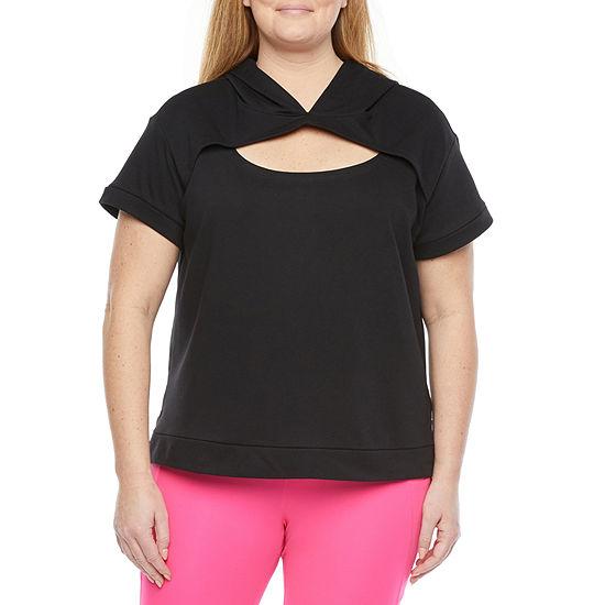 Xersion Womens Round Neck Short Sleeve Sweatshirt Plus