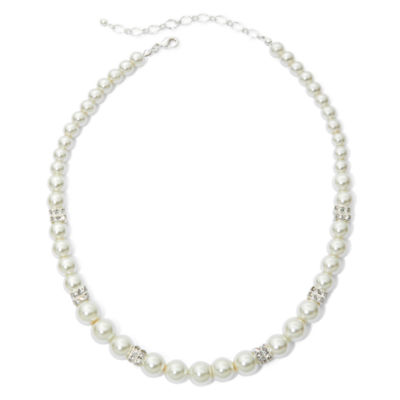 Vieste Rosa Womens 10MM Simulated Pearls Round Strand Necklace