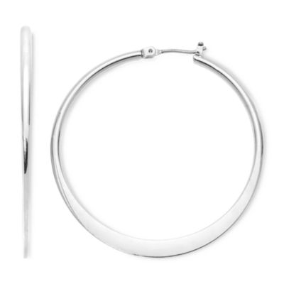 Mixit Large Silver-Tone Flat Hoop Earrings