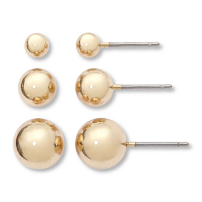 Mixit Gold-Tone 3-pr. Orb Stud Earring Set