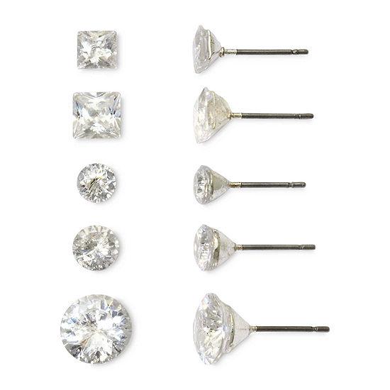 Mixit Silver-Tone Cubic Zirconia 5-pr. Earring Set