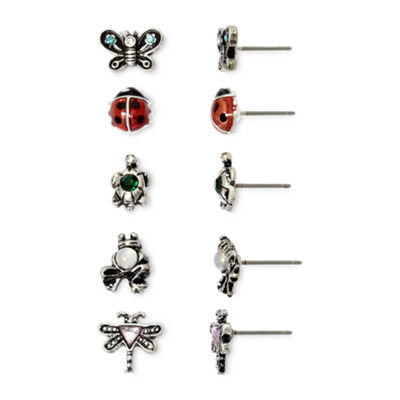 Mixit 5-Pair Bear & Bug Stud Earring Set ZuPE0PzC