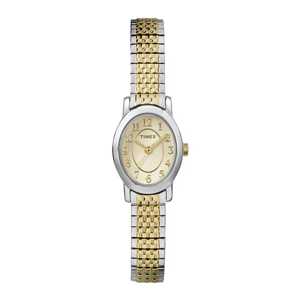 Timex® Cavatina Womens Oval Two-Tone Stainless Steel Expansion Watch TW2P602007R