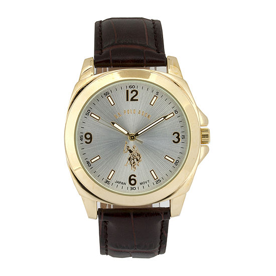 U.S. Polo Assn. Mens Brown Leather Strap Watch-Usc50011