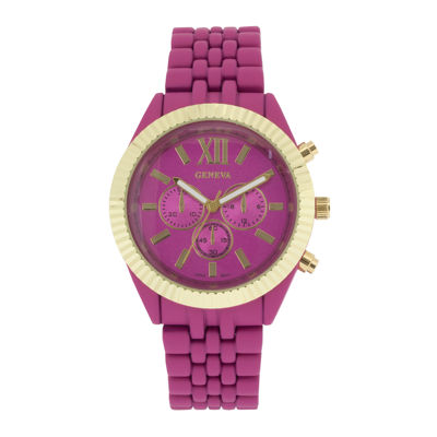 Womens Coin-Edge Bezel Pink Dial Bracelet Watch