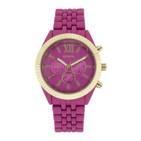 Womens Coin-Edge Bezel Pink Dial Bracelet Watch