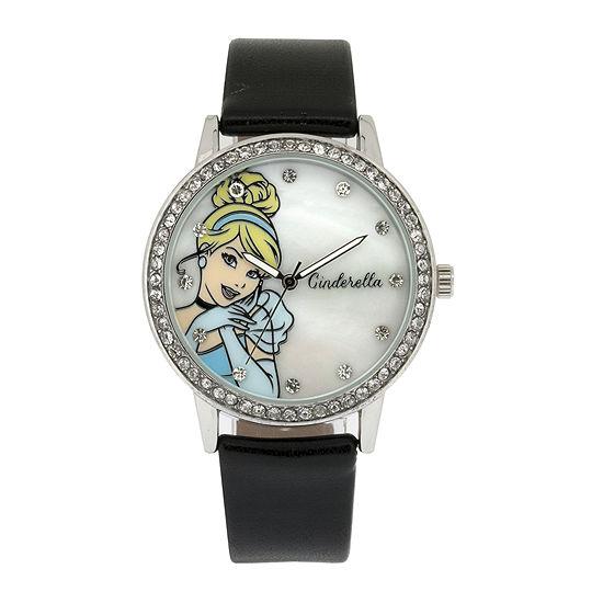 Disney Cinderella Womens Crystal-Accent Black Strap Watch