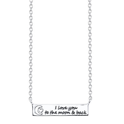 "Footnotes® Sterling Silver ""Love You to the Moon"" Bar Pendant Necklace"