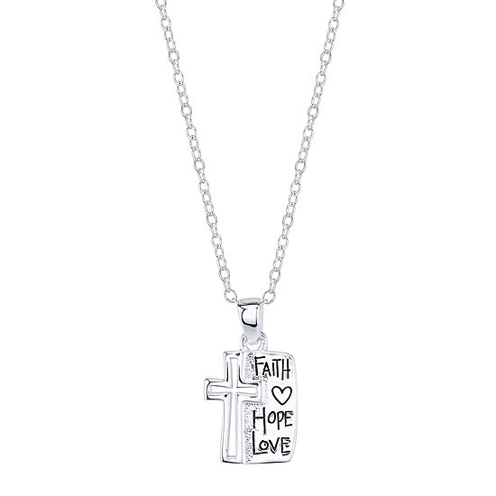 "Footnotes® Sterling Silver ""Faith Hope Love"" Cross Pendant Necklace"