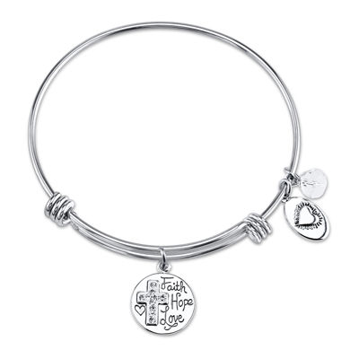 "Footnotes Too® Stainless Steel ""Greatest of These is Love"" Expandable Bangle"