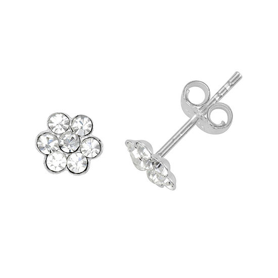 Itsy Bitsy Crystal Sterling Silver Flower Stud Earrings