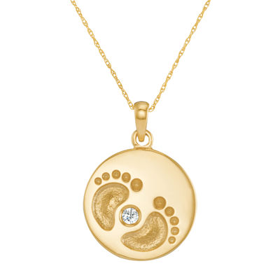 Personalized 10K Yellow Gold Name and Birthstone Footprints Pendant Necklace