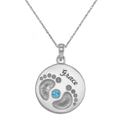 Personalized 10K White Gold Name and Birthstone Footprints Pendant Necklace