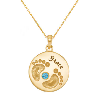 Personalized 14K Yellow Gold Name and Birthstone Footprints Pendant Necklace