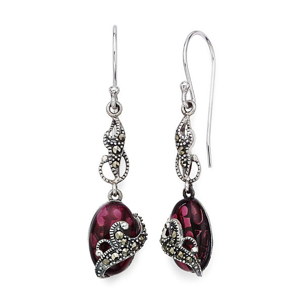 Marcasite and Red Stone Sterling Silver Oval Drop Earrings