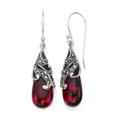 Marcasite and Red Stone Sterling Silver Teardrop Earrings