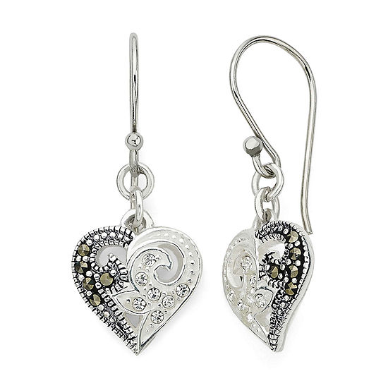 Marcasite and Crystal Sterling Silver Heart Earrings