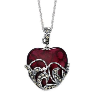 Marcasite and Red Stone Sterling Silver Heart Pendant Necklace