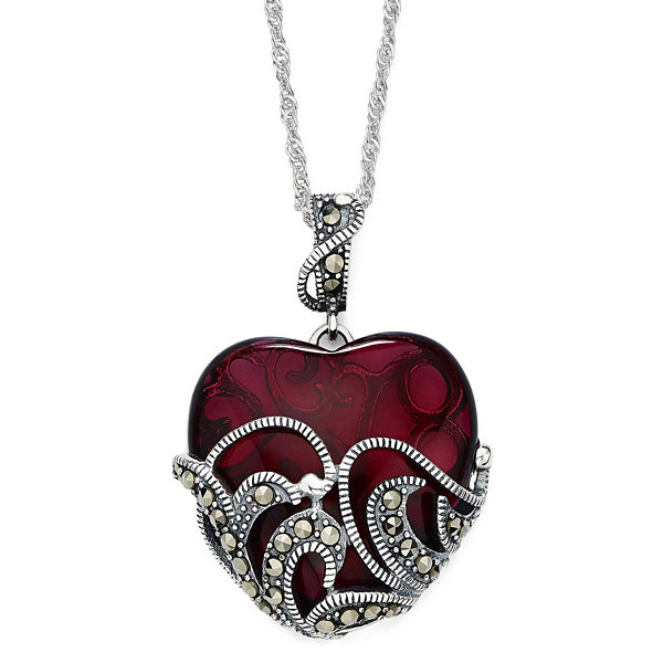 Sterling silver marc red heart pendant marcasite and red stone sterling silver heart pendant necklace mozeypictures Choice Image