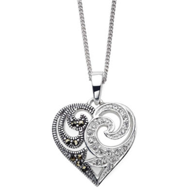 Marcasite and Crystal Sterling Silver Heart Pendant Necklace