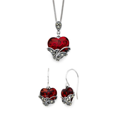 Marcasite and Red Stone Sterling Silver Heart Pendant and Earring Set