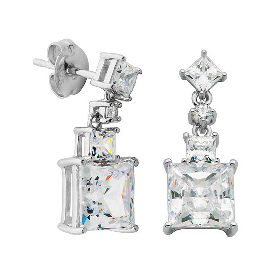 DiamonArt® Cubic Zirconia Sterling Silver Square Drop Earrings