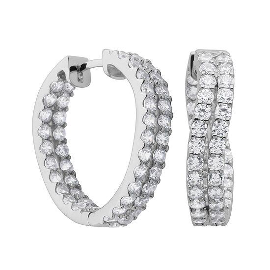 DiamonArt® Cubic Zirconia Sterling Silver Twist Inside-Out Hoop Earrings