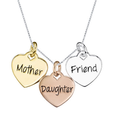 Inspired Moments™  Mother Daughter Friend Tri-Tone Sterling Silver Pendant