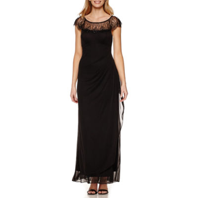 DJ Jaz Cap Sleeve Beaded Neck Formal Gown