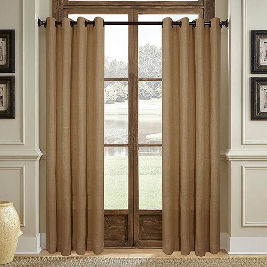 Stratford Park Woven Burlap Grommet-Top Curtain Panel