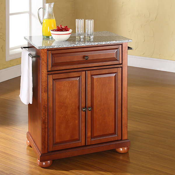 Small Country Kitchen With Island: Caldwell Small Granite-Top Portable Kitchen Island
