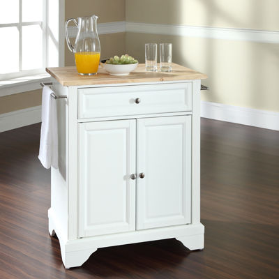 Chatham Small Natural-Wood-Top Portable Kitchen Island