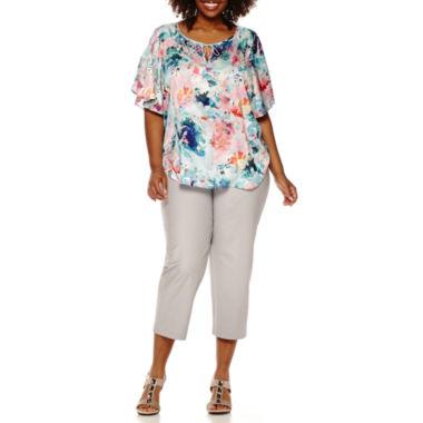 jcpenney.com | Liz Claiborne® Flutter-Sleeve Peasant Top or Millennium Stretch Ankle Pants