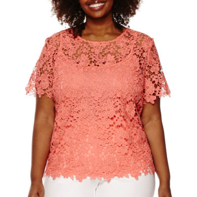 Liz Claiborne® Short-Sleeve Layered Lace Top