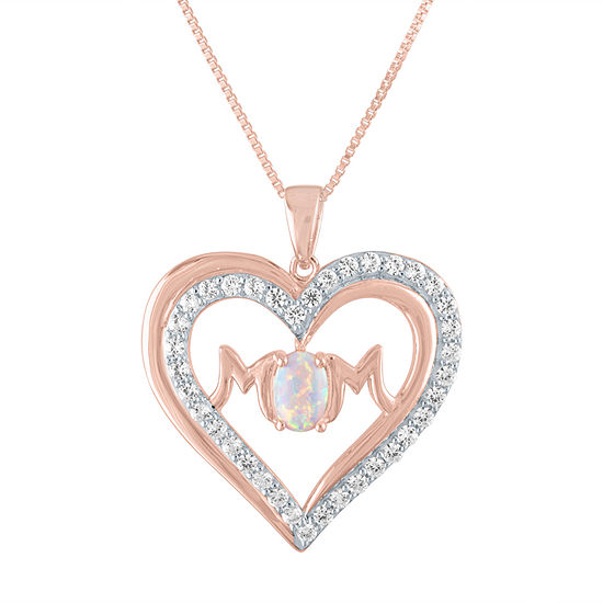 Womens Lab Created White Opal 14K Rose Gold Over Silver Heart Pendant