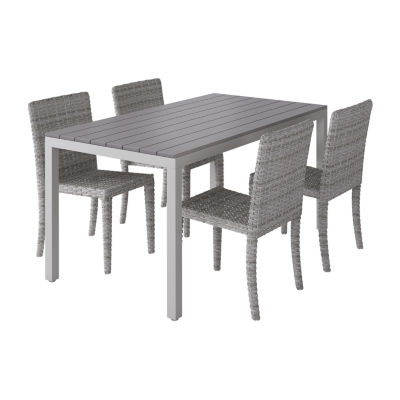 CorLiving Outdoor Oblong Dining Set with Blended Dining Chairs