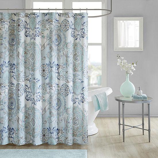 Madison Park  Loleta Cotton Printed Shower Curtain