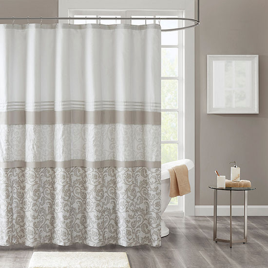 510 Design Lynda Printed And Embroidered Shower Curtain